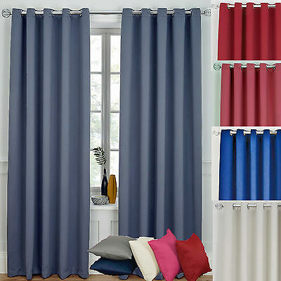 Ready Made Curtains Ring Top Eyelet Blackout  Blue Grey Pink Red Cream Cheap P&p