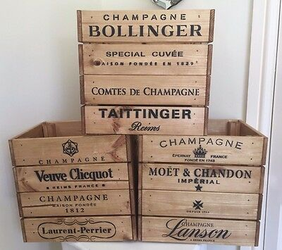 Veuve Moet Laurent-Perrier Bollinger Lanson Taittinger Wooden Crate Box storage