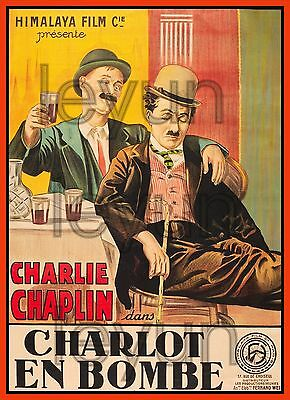 "A NIGHT OUT 1910  poster repro 16""x22"" Charles Chaplin"