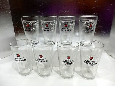 Set Of 8 New Angry Orchard Hard Cider 16 Oz Glasses With White Tree Design