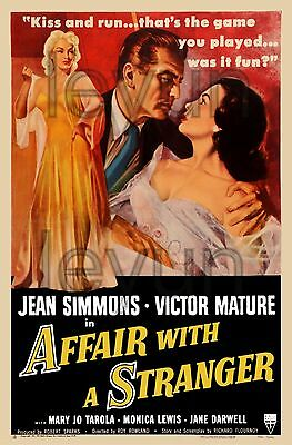 "AFFAIR WITH A STRANGER 1953  poster repro 16""x 24"" Jean Simmons - Victor Mature"