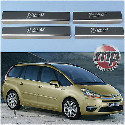 Citroen C4 Grand Picasso 08> Stainless Steel Kick Plate Car Door Sill Protectors