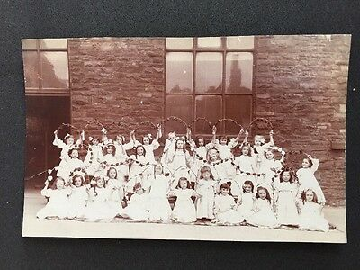 Vintage Postcard: Real Photo: Early 20c School Class #A45: Girls White Dresses