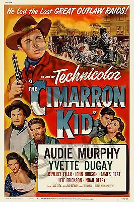 "THE CIMARRON KID 1952  poster repro 18""x 24"" Audie Murphy - Yvette Dugay"