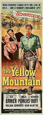"YELLOW MOUNTAIN 1954  poster repro 9""x 24"" Lex Barker - Mala Powers"