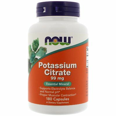Now Foods Potassium Citrate - 180 - 99mg Capsules - Essential Mineral