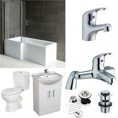 Complete Bathroom Suite L Shape Shower Bath 1700 + WC + Vanity Unit 550 + Taps