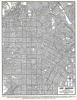 Los Angeles California Map 2 LA Vintage 1940's Original US City Map Black White