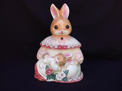 Vintage Bunny Rabbit In A Dress W/Her Baby Cookie Jar Made In Japan