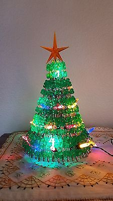 Twinkle Christmas Tree with Lights - Handmade with Green Beads