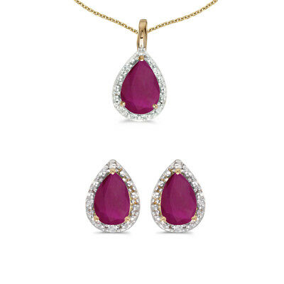 10k Yellow Gold Pear Ruby And Diamond Earrings and Pendant Set