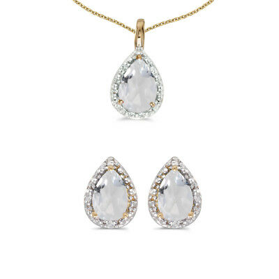 10k Yellow Gold Pear White Topaz And Diamond Earrings and Pendant Set