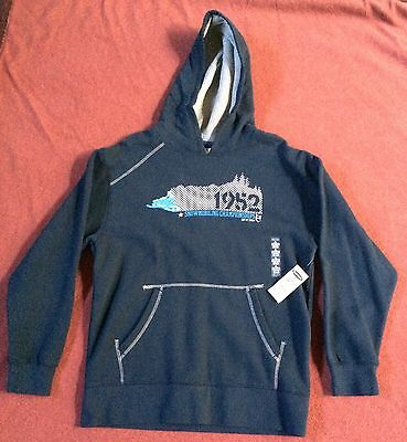 Boy's Old Navy Sweatshirt Pullover Blue Hoodie Size L 10-12 Black NEW WITH TAGS