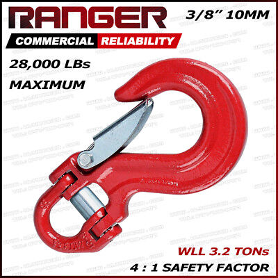 Ranger 25,000LBs Half-Link Clevis Safety Latch Swivel Winch Hook (WLL 3.2 Tons)