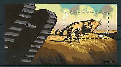 Jersey 2016 MNH WWI Great War Pt III Battles 1v M/S WW1 Cambrai Tanks Stamps