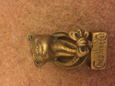 Vintage Solid Brass Cheshire Cat Door Knocker