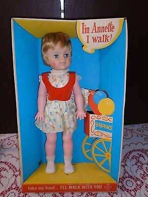 """Vintage 1960s EEGEE Goldberger Doll ANNETTE the Walking Doll 20"""" New in Box"""