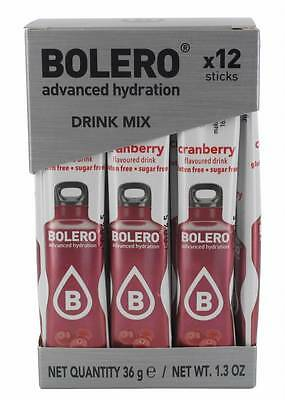 Bolero Sugar Free Drink Sticks 500ml 12 Pack Instant Fruit Flavours Cranberry