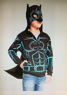 NEW Boys Batman Hooded Sweatshirt/Hoodie Glow in Dark Cape Mask Black/Blue - XL