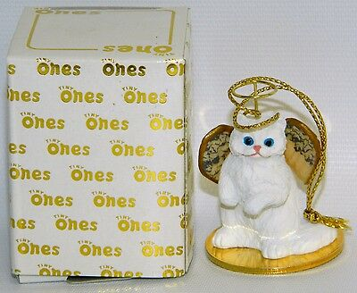 "Persian Cat White Figurine Ornament Angel 2"" Miniature Figure Tiny Ones 1996"