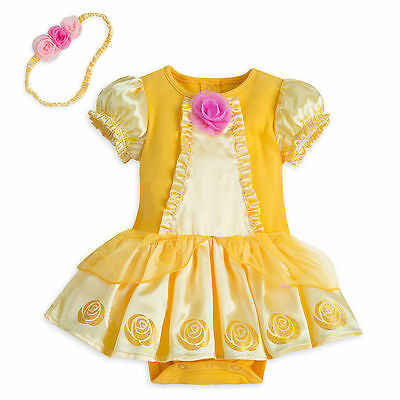NWT Disney Store Princess Belle Baby Costume Set Bodysuit 12 18 24 Months