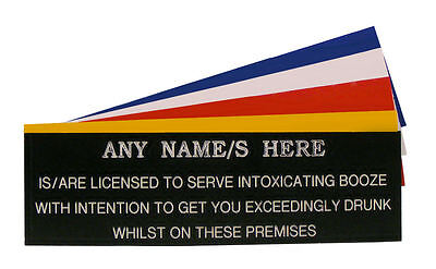 Engraved Garden Party Bar Pub Licensee Personalised Man Cave Shed Sign Plaque