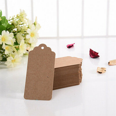 100pcs Vintage Blank Brown Kraft Paper Hang Tags Wedding Favor Label Gift Cards
