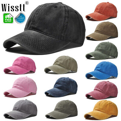 Plain Washed Cap Polo Style Cotton Adjustable Baseball Cap Blank Solid Hat USA