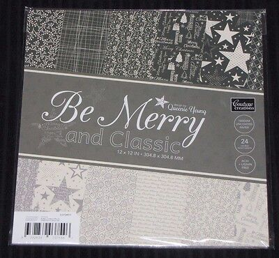 "Couture Creations 'BE MERRY & CLASSIC' 12x12"" Paper Pk 24 Sheets Christmas 2016"