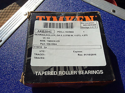 (1) Timken 558 Tapered Roller Bearing, Single Cone, Standard Tolerance, Straight