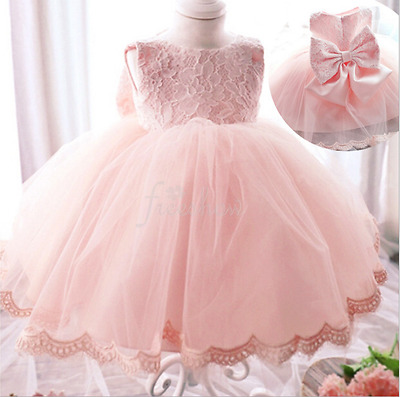 Flower Girl Princess Lace Dress Kid Baby Party Wedding Pageant Formal Birthday