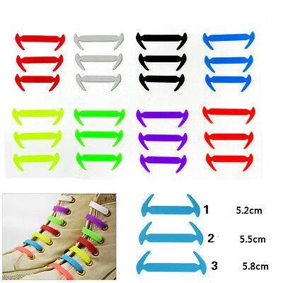 Easy No Tie Silicon Elastic Shoe Laces Colored Trainers Snickers Kids + Adults u