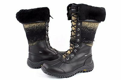 5e83b7a967f UGG ADIRONDACK TALL Leather And Wool Black Color Snow Boot Size 10 US
