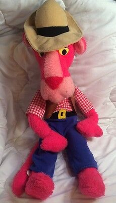 """Vintage 1980 Pink Panther Cowboy Edition Poseable 21"""", Full Outfit"""