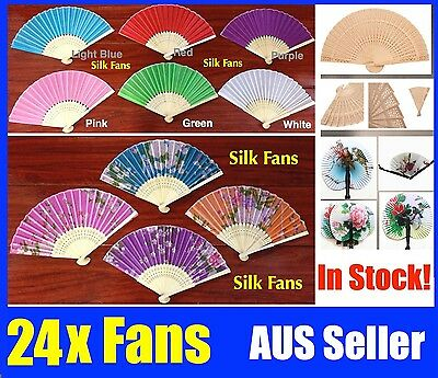 Bulk 24 Chinese Hand Folding Silk Bamboo Wooden Paper Fan White Red Pink Flower