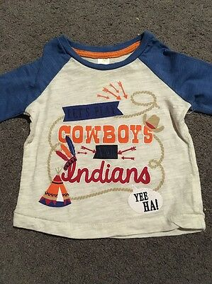 Baby Boys Long Sleeved Cowboys And Indians Top Size 00 EUC