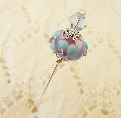 Purple Blue Lampwork Bead HatPin with clutch ~Lapel Hat Brooch Stick Pin