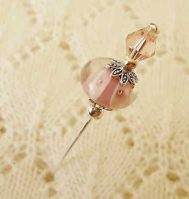 Pink  Lampwork Bead HatPin with clutch ~Lapel Hat Brooch Stick Pin