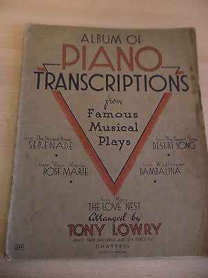 album piano transcriptions from musical play OLD vintage SHEET MUSIC song book