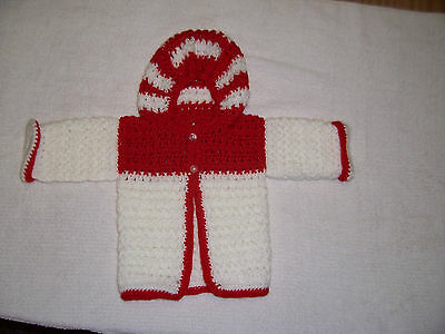 New Hand Crochet  Baby Hooded  Cardigan  Red & White  0-3 Mths Appr