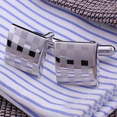 New Classical Square Steel Wedding Party Gift Mens Cufflinks Laser Cuff Links GE