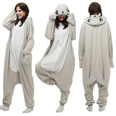 Hot Unisex Adult Seal Pajamas Kigurumi Cosplay Costume Animal Onesie Sleepwear
