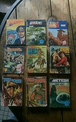 Lot De 9 Bd Anciennes Tex Tone Meteor Buck John Marines Silver Colt