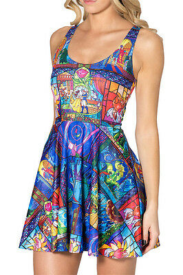 Belle Beauty and the Beast Fairytale Rose Stained Glass Skater Dress