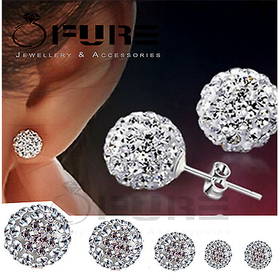 925 Sterling Silver Women's Kid's Round Sparkling Disco Ball Ear Stud Earrings