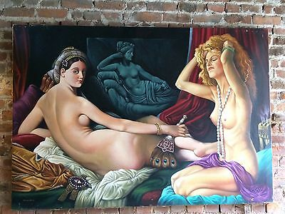 Gorgeous Nude Oil On Canvas Very Large Realism Painting Signed Malcolm Morris 3