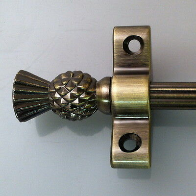 "ANTIQUE BRASS 3/8"" x 36 INCH REED STAIR RODS THISTLE FINIAL (R02LRET)"