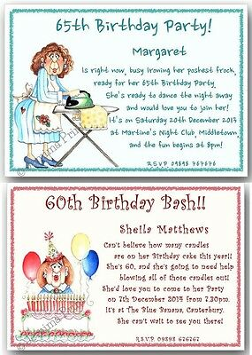 40th 50th 60th 70th 80th 90th Personalised Funny Birthday Invitations X10 J132