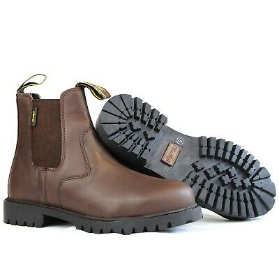 Steel Toe Cap Leather Jodphur Riding Yard Boots Adults  Black Or Brown