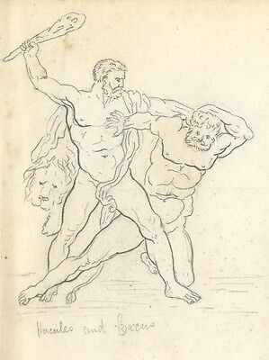 Hercules and Cacus Figures - Original late 19th-century graphite drawing